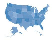 Mapa dos Estados Unidos Fotografia de Stock Royalty Free