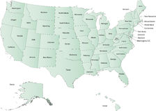 Mapa dos EUA fotos de stock