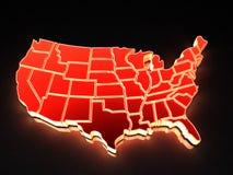Mapa dos EUA. 3d Imagem de Stock