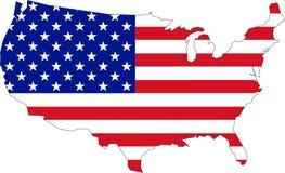 Mapa dos EUA com bandeira Fotografia de Stock