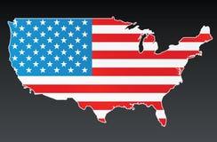 Mapa dos EUA com bandeira dos E.U. Imagens de Stock Royalty Free