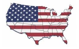 Mapa dos EUA com beiras de estado. Fotografia de Stock Royalty Free
