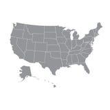Mapa dos EUA com estados federais Imagens de Stock Royalty Free