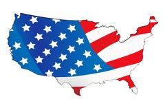 Mapa dos EUA com fundo do mapa Imagens de Stock Royalty Free