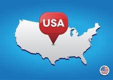 Mapa dos EUA com ponteiro vermelho Imagem de Stock Royalty Free