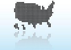 Mapa dos EUA com reflexão ilustração do vetor