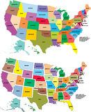 Mapa dos EUA do vetor Fotografia de Stock