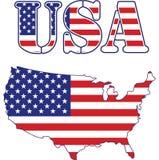 Mapa dos EUA e bandeira do texto ilustração do vetor