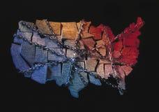 Mapa dos EUA envolvido nas correntes Fotografia de Stock Royalty Free