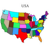 Mapa dos EUA no branco Foto de Stock Royalty Free