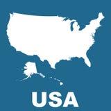 Mapa dos EUA no fundo azul Imagens de Stock Royalty Free