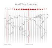 Mapa dos fusos horários do mundo Fotos de Stock Royalty Free