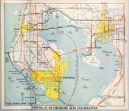 Mapa dos mediados do século XIX de Tampa foto de stock