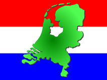 Mapa dos Países Baixos Fotografia de Stock Royalty Free