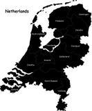 Mapa dos Países Baixos Imagens de Stock Royalty Free