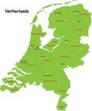 Mapa dos Países Baixos do vetor Foto de Stock Royalty Free