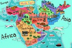 Mapa dos países de Médio Oriente no estilo dos desenhos animados Fotografia de Stock Royalty Free