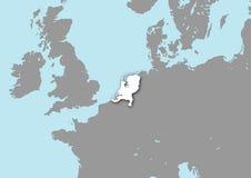 Mapa dos Países Baixos Imagens de Stock