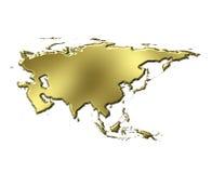 Mapa dourado de Ásia 3d Foto de Stock Royalty Free