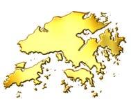 Mapa dourado de Hong Kong 3d Fotografia de Stock Royalty Free