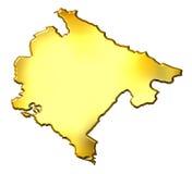 Mapa dourado de Montenegro 3d ilustração stock