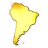 Mapa dourado de Ámérica do Sul 3d Fotos de Stock Royalty Free
