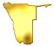Mapa dourado de Namíbia 3d Imagem de Stock