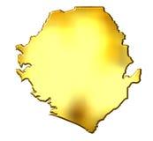Mapa dourado de Sierra Leão 3d Fotografia de Stock Royalty Free