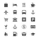 Mapa e ícones lisos do lugar ilustração stock