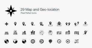 Mapa 29 e ícones perfeitos do pixel do Geo-lugar