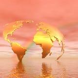 Mapa e arco-íris dourados Imagens de Stock Royalty Free