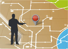 Mapa e avatar que apontam um lugar Ilustração Fotos de Stock Royalty Free