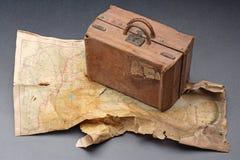 Mapa e bagagem Foto de Stock Royalty Free