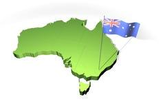Mapa e bandeira de Austrália ilustração do vetor