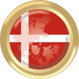 Mapa e bandeira de Dinamarca Fotografia de Stock Royalty Free
