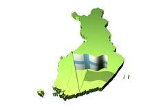 Mapa e bandeira de Finlandia ilustração royalty free