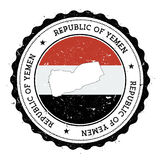 Mapa e bandeira de Iémen no carimbo de borracha do vintage de Imagens de Stock