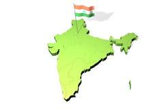 Mapa e bandeira de India Fotografia de Stock Royalty Free