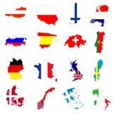 Mapa e bandeira de países europeus. Imagens de Stock