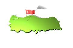 Mapa e bandeira de Turquia Fotografia de Stock Royalty Free