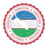 Mapa e bandeira de Usbequistão no carimbo de borracha do vintage Fotografia de Stock
