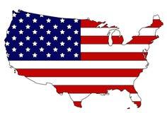 Mapa e bandeira dos EUA Fotografia de Stock Royalty Free