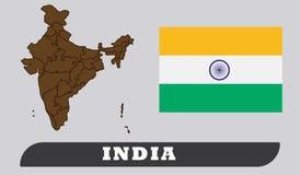 Mapa e bandeira indianos ilustração royalty free