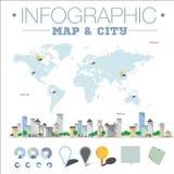 Mapa e cidade de Infographic ilustração stock