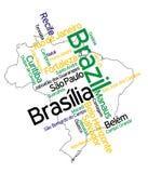 Mapa e cidades de Brasil Imagens de Stock