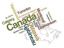 Mapa e cidades de Canadá Fotos de Stock Royalty Free