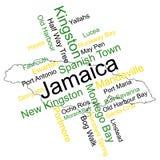 Mapa e cidades de Jamaica Foto de Stock