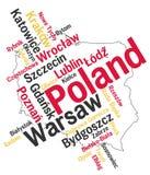 Mapa e cidades de Poland Foto de Stock Royalty Free
