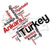 Mapa e cidades de Turquia Imagens de Stock Royalty Free