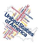 Mapa e cidades dos E.U. Foto de Stock Royalty Free
